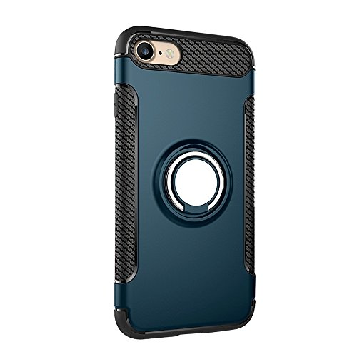 Pour iPhone 7 Phone Ring Armor TPU + PC 360 degrés Rotation magnétique Phone Ring Stent Combination Case JING ( Color : Blue ) Navy