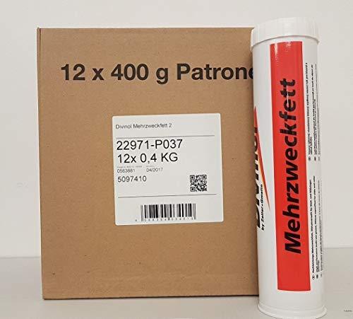 Lot de 12 cartouches de graisse multi-usage de 400 ml, lithium, NLGI 2, 22971