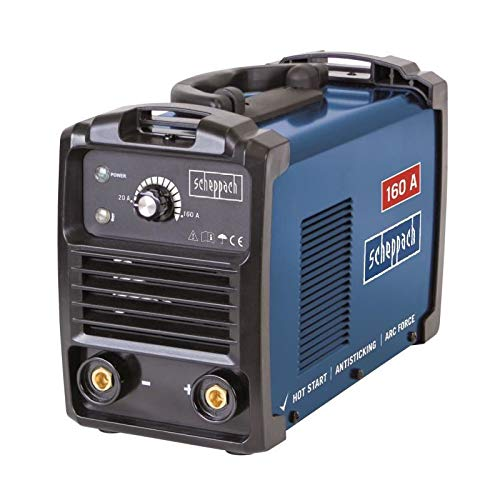 Scheppach WSE900 Elektroden Schweißgerät (bis 160 A, 85 V, automatischer Heißstart, Anti-Hafttechnik, dynamische Stromregulierung, Überlastungsschutz) inkl. Zubehörpaket
