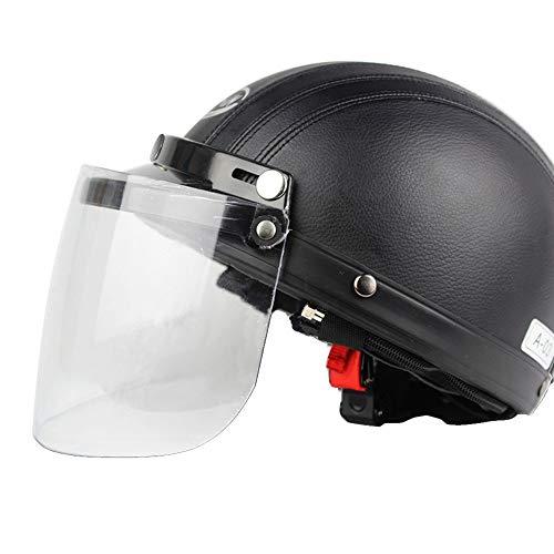 Motorrad Schutzvorrichtung Universal Motorradhelm, 3 Snap Flip Up Visier Shield Objektiv für Retro Open Face Motorradhelm Universal Motorrad Roller Kunstleder Open Face Half Helm & Visier UV-Schutzbri Face Snap