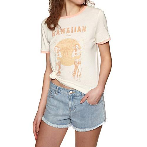 Rip Curl Hula Moon Ringer Womens Short Sleeve T-Shirt X Small Off White -