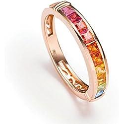 AnaZoz (Tamaño Personalizado) 18K Oro Joyas Anillo Diamante Anillo Mujer Anillo Zafiro Piedras Preciosas Redondo Anillo de Diamante Anillo Oro Rosa Tamaño del Anillo 13,5