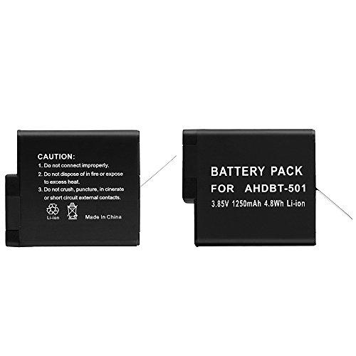 Simpeak-Batteria-Li-ion-Ricaricabile-1250-mAh-per-Gopro-Hero-5-Nero