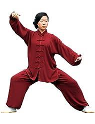 E-Bestar baycliffe Kung Fu traje de baño para mujer y para hombre traje de Tai Chi Shaolin, color Rojo - rojo, tamaño Asien L
