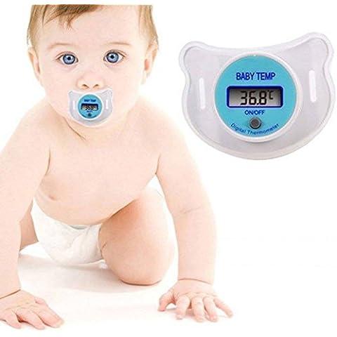 SCG Premium Digital LED bebé Infant niño termómetro chupete chupete rápido precisa lectura suaves y seguridad dispositivo de medición de la temperatura de la pantalla Monitor fiebre con tetina higiénica y cubierta–CE certificado 100% Calidad Garantizada garantizada–recargable