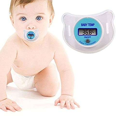 SCG Premium Digital LED Baby Infant Child Thermometer Dummy Pacifier Quick Accurate Read Out Display Temperature Monitor Measurement Fever Device With Soft Smooth Safety Hygienic Nipple & Cover - CE Certified 100% Guaranteed Quality Assured - Battery Included!