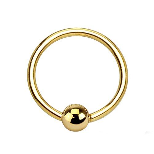 Piercingfaktor BCR Bead Ring Piercing 14 KT 585er Gold Brust Intim Nippel Septum Tragus Helix Ohr Nase Lippe Augenbrauen 1,2mm x 10mm x 3mm