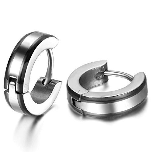 JewelryWe Schmuck Herren Ohrringe, 4MM Breit Einfach Glatt Creolen Ohrstecker, Edelstahl, Schwarz Silber