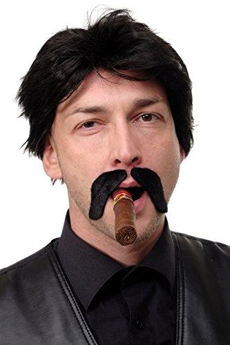 DRESS ME UP Karneval Fasching Halloween falscher Bart Schurrbart Oberlippenbart Casanova Gangster 70er Pimp zweiteilig schwarz MM-017