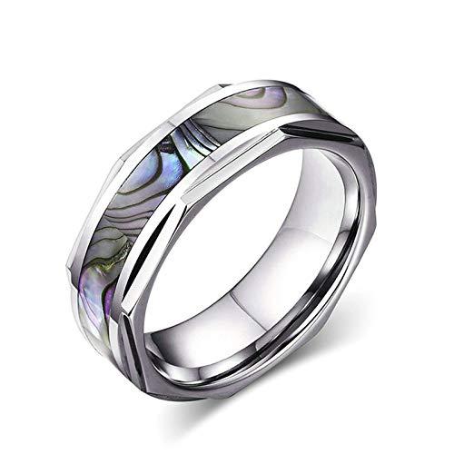 Adisaer Edelstahl Ringe Frauen Herren Ringe 8Mm Edelstahl (Mit Gratis Gravur) Abalone-Muschel Ehering Silber Größe 65 (20.7) Kostenlos Gravur