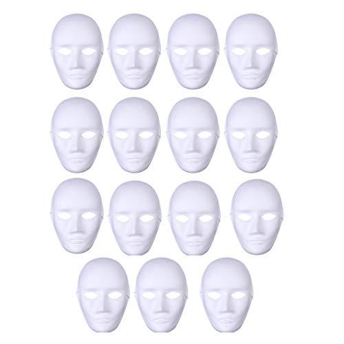 Toyvian DIY Blank Malerei Maske 15 stücke Vollgesicht Halloween Kostüme Halloween Hip-Hop Dance Ghost Cosplay Kostüm Maskerade Party Maske (Männliches ()