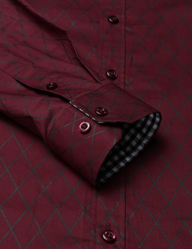 7ed06b7727 ... BURLADY Herren Hemd Slim Fit Diamant-Gitter Karohemd Kariert  Langarmshirt Freizeit Business Party Shirt für ...