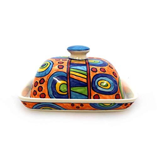 Gall&Zick Beurrier avec Couvercle en céramique Peint à la Main Multicolore Orange