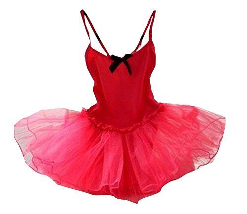 Filles Ballet Gymnastics Tutu Danse Costume pour les enfants rouge et noir