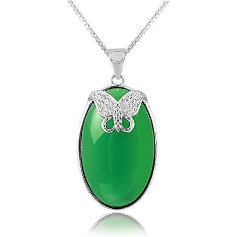 La Noche Estrellada forma ovalada verde ágata colgante de calcedonia Diamond Accented mariposa 17.72
