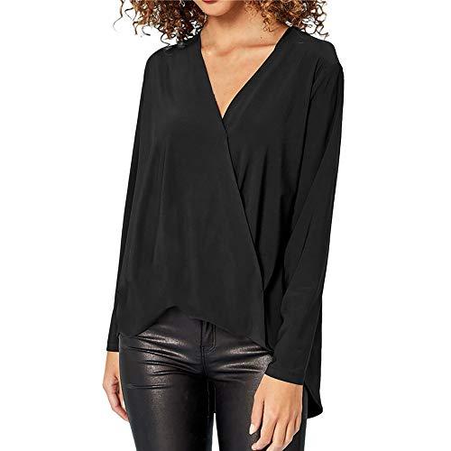 Mode Damen Chiffon Solid T-Shirt Büro Damen V-Ausschnitt Langarm Bluse Top MYMYG Frau Pullover Langarmshirt Sweatshirt (Schwarz,EU:36/CN-M)
