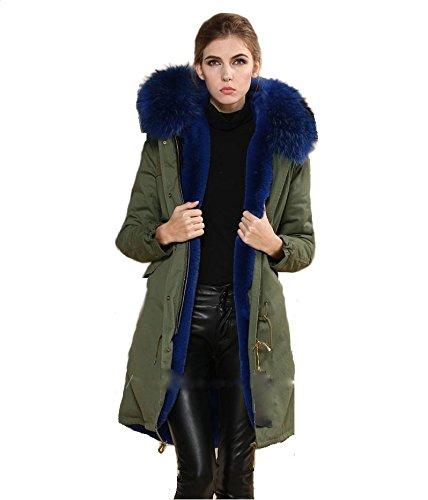 74b9e70a7e0cc9 PARKA XXL Kragen aus 100 ECHTPELZ ECHTFELL Jacke Mantel Khaki 8 Farben  Blauer Pelz