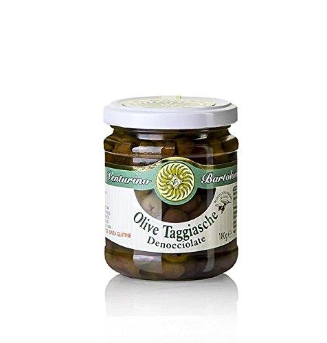 Oliven Mischung, grüne & schwarze Taggiasca-Oliven, ohne Kern, in Öl, Venturino, 180 g