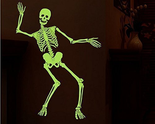 Einfache Für Hunde Und Schnelle Kostüme (URChic 2Pcs Scary Tanzen leuchtende Schädel Skeleton Halloween Lustige Party Nacht Licht Glanz Zimmer Möbel Dekoration Home Decals)