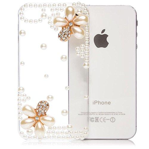 iCues Schutzhülle kompatibel mit Apple iPhone 4/4S   Perlen Blumen Case Klar   [Display Schutzfolie Inklusive] Floral Transparent Strass Glitzer Glitter Luxus Bling Damen Frauen Hülle Cover Schutz (4 Iphone Strass Bling Hülle)