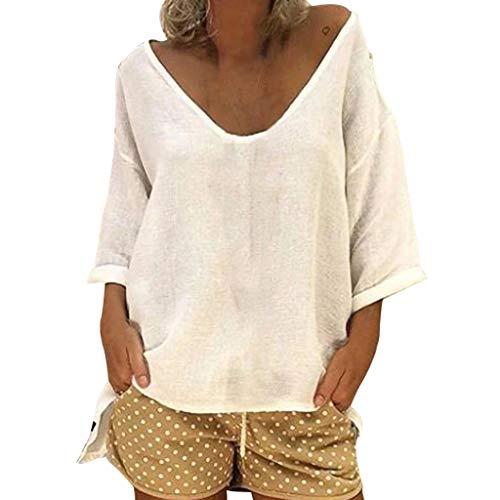 Clacce T-Shirt Oberteile Tops Langarmshirts Tunika Hemd Damen Solide Bluse Langarm Lose Top Shirt Tee (Fahren Zitronen Auf)