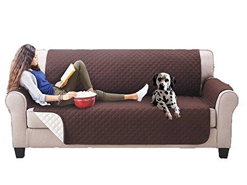 Nice cook - fodera di protezione per divano - copridivano - cane, gatto, animale - impermeabile anti-adesivo reversibile - marrone, 3 posti
