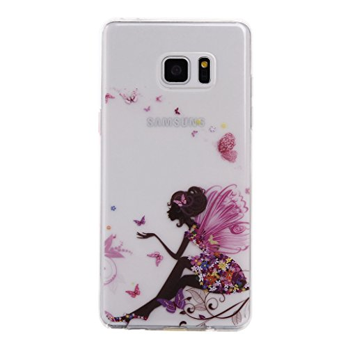 """Coque Cover iPhone 7 Plus, IJIA Transparent Ultra-mince Noir Pomme Papillon Fille Princesse TPU Doux Silicone Bumper Case Coque Housse Etui pour Apple iPhone 7 Plus (5.5"""") + 24K Or Autocollant color-WM9"""