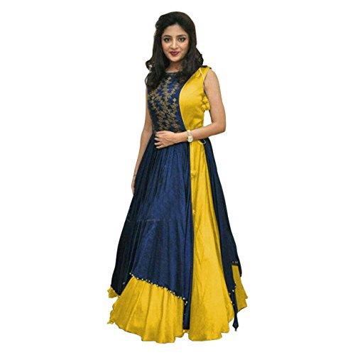 Anarkali suits (KESU Fashion Women\'s Printed un-stitched Salwar Suit\\dress Material without dupatta In Banglori Fabric (KUMD1007-B) Yellow