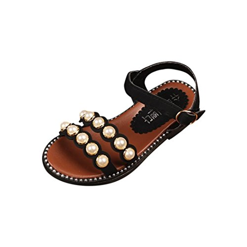 Sandals Girls,Ba Zha  Summer Kid Children Infant Girls Pearl Beach Sandals Princess Casual Shoes Sneakers Sandals Newborn Soft Sole Shoes Flats Slip-On Solid Single Shoes Baby 3.5-9 Years Old