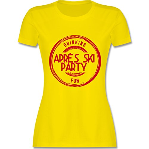 Après Ski - Après Ski Stempel Badge - tailliertes Premium T-Shirt mit Rundhalsausschnitt für Damen Lemon Gelb