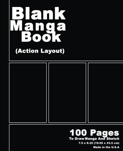 Blank Manga Book: Black Cover,7.5 x 9.25, 100 Pages, Manga Action Pages,For drawing your own comics, idea and design sketchbook,for artists of all levels