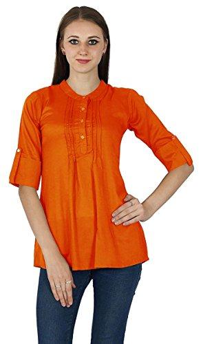 Top Solide Sundress Robe Tunique Boho Coton Vêtements Pour Wear Orange sombre
