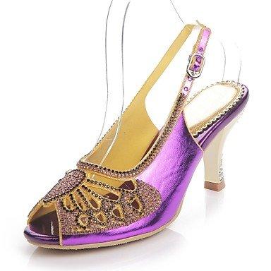 Sanmulyh Chaussures Femme Polyuréthane Printemps Été Mode Bottes Sandales Open Toe Strass Cristal Scintillant Boucle Glitter Pour Party & Soirée Violet