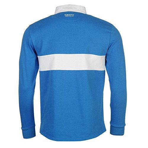 Team Newcastle United Herren Rugby Polo Shirt Freizeit Langarm Polohemd Baumwolle Royal