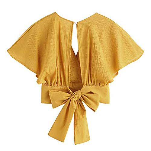 Loolik Frauen Damen Bogen Kurzarm Shirt Rückenfrei V-Ausschnitt Kurze Bluse Tops Kurze Weste Sexy Crop Tops(Gelb,M) -