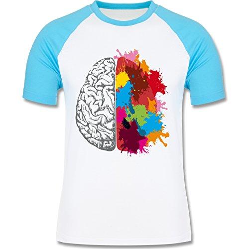 Boheme Look - Gehirnhälften grau & bunt - zweifarbiges Baseballshirt für Männer Weiß/Türkis
