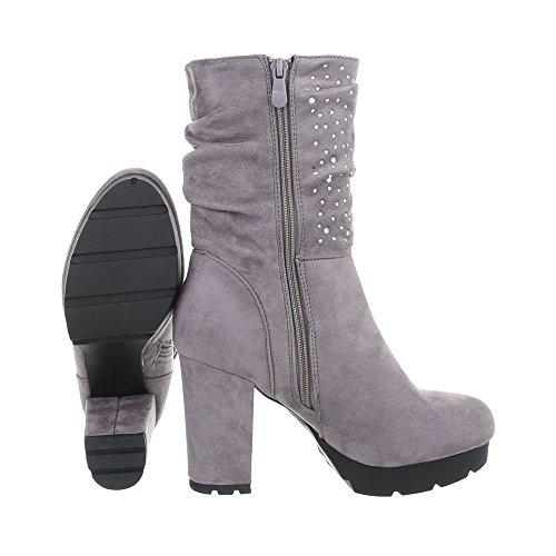 Chaussures femme Bottes et bottines Kitten-Heel Bottines High Heels Ital-Design Gris