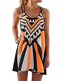 Toamen Women s Dress Sale Bohemia Vintage Sleeveless 3D Floral Print Tank  Summer Beach Party Holiday A c76623179def