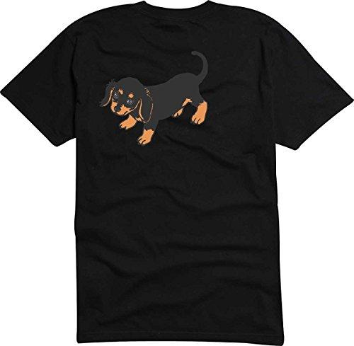Black Dragon - T-Shirt D853 T-Shirt Herren weiß XL - Design Tribal Comic/Grafik Hund Welpe kleiner Dackel Teckel mit dunklem Fell - Fasching Party Geschenk Funshirt