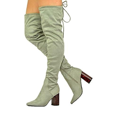 Cucu Fashion , Sandales Compensées femme - gris - Suède gris, 42