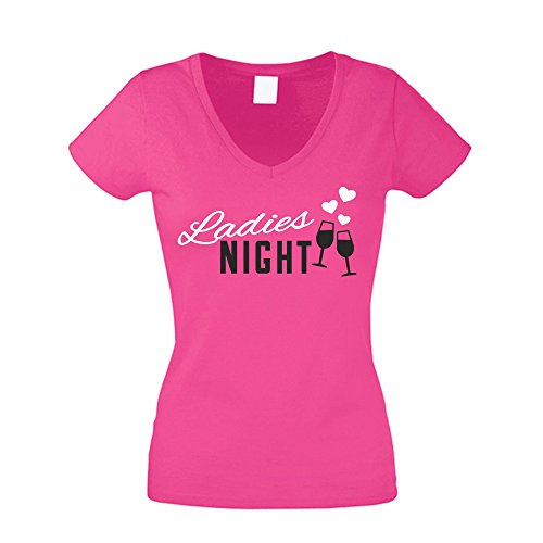 JGA T-Shirts Damen V-Neck - Ladies Night Herzen - von SHIRT DEPARTMENT fuchsia-weiss