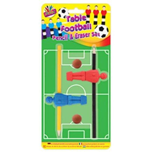 Kinder Kinder Tisch Fußball Bleistift & Radiergummi Set neuheit-spaß Partybeutel (Fußball-neuheit)