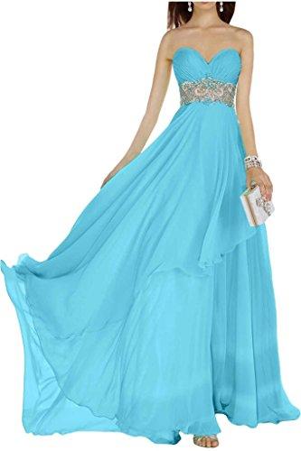 Gorgeous Bride Elegant Traegerlos A-Linie Organza Applikation Spitze Abendkleider Ballkleider Festkleider Blau