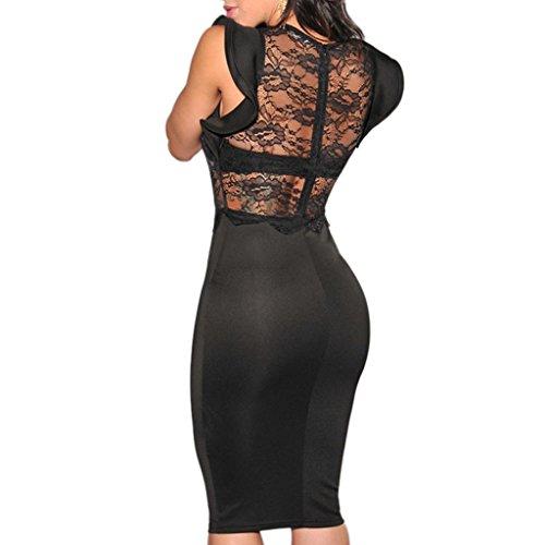 mywy - Vestito pizzo donna vestitino sexy abito sera abiti eleganti vestiti party Nero