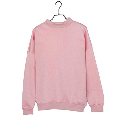 Yogogo Fille De Femmes Taille Plus Sweatshirt RéColte à Manches Longues Pull En Daim Pullover Tops Rose