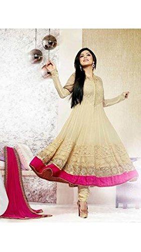 Unique Fashion Station Women's Georgette Semi Stitched Anarkali Dress Material (UFS071215A029_Cream_Free Size)