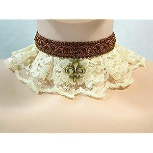 Halsband creme braun Fleur de Lys Lilie Steampunk Viktorianisch Barock Rokoko Halskrause