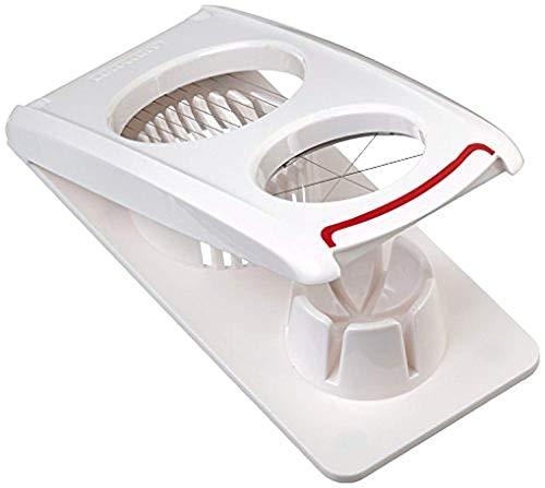 Leifheit Eierschneider Combi ComfortLine-Serie mit 3 Funktionen, schneidet sauber und exakt, Küchenhelfer zum Schneiden von Eiern, Pellkartoffeln, rostfreier Schneidedraht, weiß