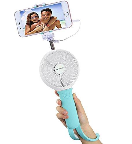 Ventilatore USB e Selfie Stick, Keynice portatile gestito mini monopiede ventilatore con telecomando per esterno-Blu