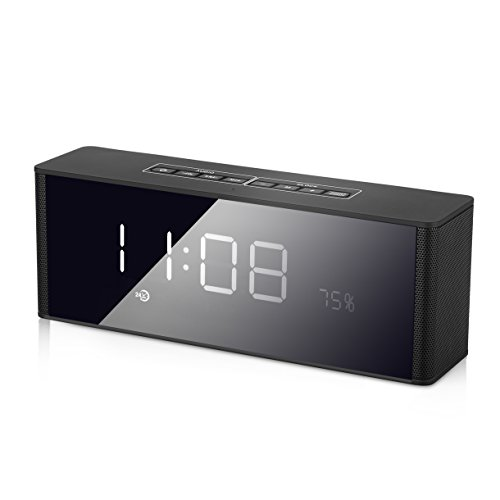 Clock Speaker, Yokkao® Portable Wireless Bluetooth Clock Alarm Speaker with LED Screen Built-in Microphone Support FM Radio/ TF Card/ 3.5mm Aux-in for iPhone iPad PC and More